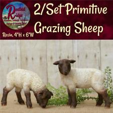 Primitive Country Farmhouse Folk Art 2/Set Grazing Sheep Rustic Vintage Look 00004000