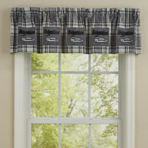"""1 Gray Area Loons Rustic Plaid Country Cabin Cotton Lined Valance 60"""" x 14"""""""