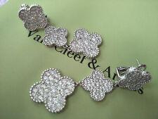 .*..Van Cleef & Arpels Vintage Magic Alhambra 18k White Gold Earrings With Diamo
