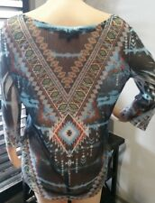 BNWT new Size 10-12 RRP $139.95 SEVEN SISTERS BLOUSE NET TOP Indian Print