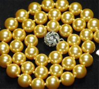 Huge 12mm Gold Yellow South Sea Shell Pearl Round Beads Necklace 18''
