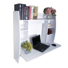White Home Floating Computer Wall Mounted Pc Laptop Desk w/ Storage Shelf S5Y6