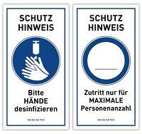 2x Hygiene Hinweis Aufkleber | DESINFEKTION MAXIMALE PERSONEN | Virus Schutz