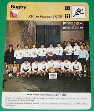 XV FRANCE - IRLANDE 1968 SPANGHERO TOURNOI V NATIONS GRAND CHELEM FICHE RUGBY