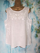 NEXT WHITE TOP SIZE 14, White cotton Embroidery floral Summer tunic Blouse vest