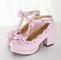 Women's Mary Jane Lolita Shoes Brogues Bowknot Buckle Strap Cosplay Party Shoes