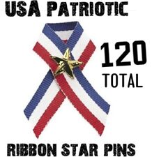 (120) USA American Flag Patriotic Ribbons with stars - wholesale set (10 dozen)