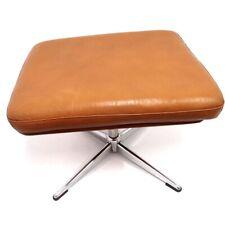 Hocker braun Vintage TV Stuhl 55cm Fußhocker 360 Grad drehbar Sitzhocker Fußbank