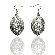 Women's Tibetan Silver Leaf Drop Hollow Dangle Earrings Bohemia Vintage Retro
