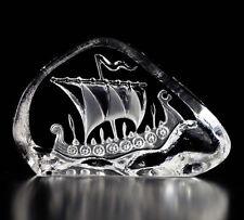 Mats Jonasson Crystal Viking Ship Sculpture/Statue/Figurine 88178- Brand New!