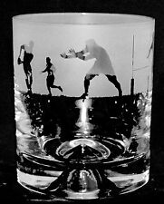 *RUGBY GIFT* - Single Boxed GLASS WHISKY TUMBLER with RUGBY SCENE FRIEZE