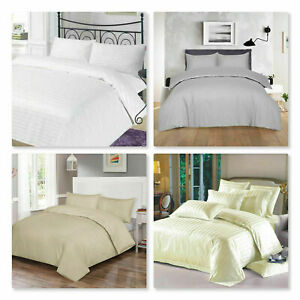 Hotel Quality Stripe Satin T300 100% Cotton Duvet Cover Bedding Set In ALL Sizes