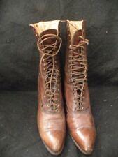 Pair Antique Victorian Ladies Brown Leather Shoes