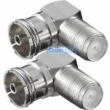 2 x RIGHT ANGLE FEMALE COAX to F TYPE SOCKET TV Aerial Sky Connector Adapter