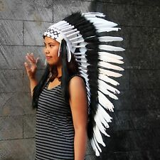 Indian headdress, medium length feather headpiece, black and white warbonnet