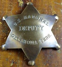 US Marshal Deputy Oklahoma Terr Star Shape Antique Brass Pinback Old West Badge