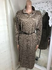 Vintage Animal Print Belted Thin Knit Dress 1970s 12-14