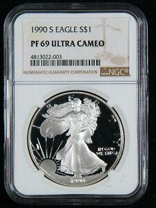 1990-S Silver Eagle S$1 NGC PF 69 Ultra Cameo