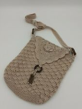 Cream Crochet Shoulder Cross Body Handbag Zip Closure Matalan