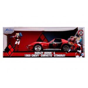 Harley Quinn 1:24 1969 Chevy Corvette Stingray plus Figurine - Jada Diecast Toys