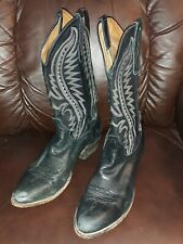 MEN'S LARRY MAHAN EL PASO BLACK COWBOY BOOTS 46354 SIZE 10 1/2 D EUC Made in USA