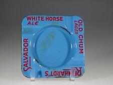 Vintage Blue Porcelain Enamel Rheinhardt's White Horse Ale Ashtray c.1930
