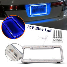 Auto 12V Front Rear License Plate Frame 54 LED Blue Light w/ Bolt Plastic 12.5""