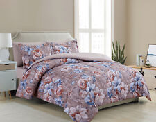 Goose Down Alternative Bed in a Bag Flower 7 Piece Sheet Comforter Set Queen