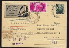 STORIA POSTALE REPUBBLICA 1953 Intero 20L Espresso da Brescia a Bologna (NT7)
