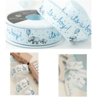 "New Baby Boy Ribbons - Blue It's a Boy - 1"" Animal Train - New Baby Ribbon"