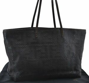 Authentic FENDI Shoulder Tote Bag Leather Brown E2639