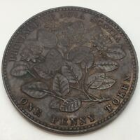 1856 Province Nova Scotia One Penny Circulated Canadian Token With LCW D842