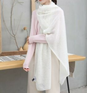 clearance - Soft and Warm Ladies Wool Scarf - Cream Winter