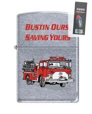 Zippo 7186 Firefighter Bustin Ours Saving Yours Chrome Lighter + FLINT PACK
