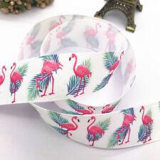 "DIY 5Yards 1""25mm Printed Flamingos pattern Grosgrain Ribbon Hair Bow Sewing#152"