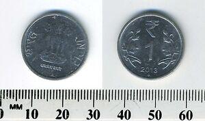 India 2013 (B) - 1 Rupee Stainless Steel Coin - Asoka column - Star