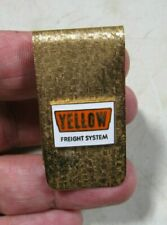 Vintage 1960's/70's Yellow Freight System Trucking Gold Tone Enamel Money Clip
