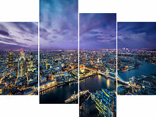 Large 4 Panel Canvas Picture London Evening Night City Tower Wall Art Prints