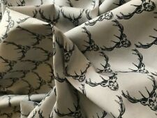 100% cotton fabric stags head stag craft quilting patchwork dress  grey