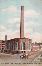 ATHOL, MA, STARRETT TOOL CO FACTORY'S POWER PLANT & 175 FOOT CHIMNEY used 1909