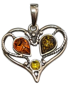 Heart Pendant Genuine Baltic Cognac Brown Amber 925 Sterling Silver  # 51