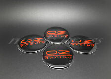 SET 4x56mm OZ Racing Wheel Alloy Center 3D Shaped Stickers Red Black Color