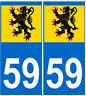 stickers autocollants plaques immatriculation auto Département 59 Nord Flandres