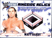WWE Matt Hardy 2007 Topps Heritage Event Worn Shirt Ringside Relic Card Black Pk