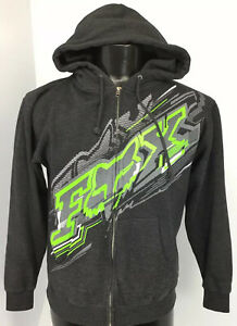 Fox Racing Hoodie Sweatshirt Men's Small Dark Gray With Lime Green And White R1a