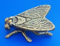 "Vintage 3.5"" Solid Brass Fly Bug Insect Trinket Hinged Box Ashtray Figurine"