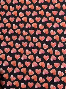 Glitter Hearts Christmas Cotton Fabric BTHY