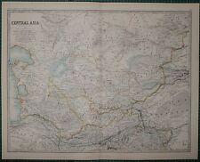 1895 LARGE ANTIQUE MAP ~ ASIA CENTRAL ASIA TURKESTAN RUSSIAN TURKESTAN