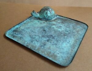 """Snail Candle Holder TAG Metal Iron Square 5"""" x 5"""" Rustic Tray India Patio Porch"""