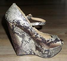 ROCKABILLY SNAKESKIN WEDGES 8 mary-jane PEEPTOE heels SEXY VAMP platform shoe